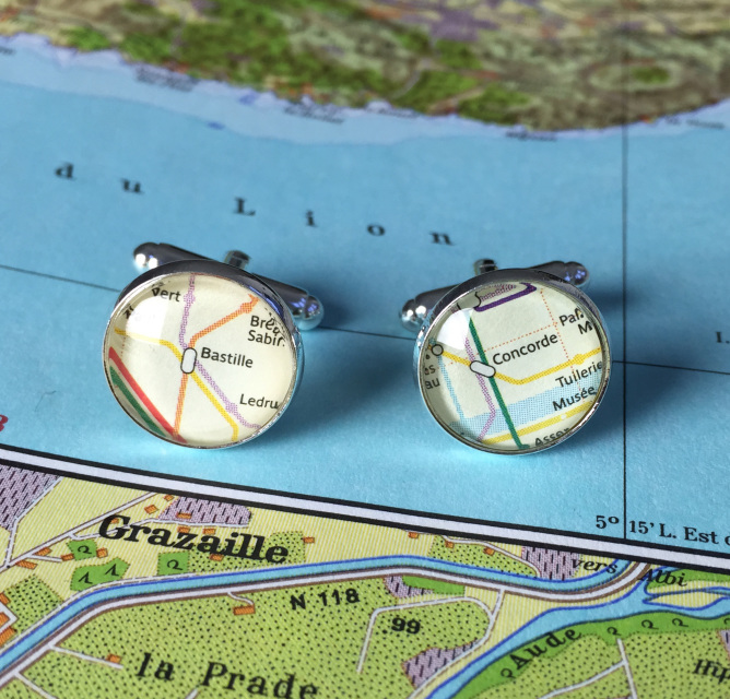 Subway Map Cufflinks.Personalised Paris Metro Map Silver Plated Cufflinks By Charlie